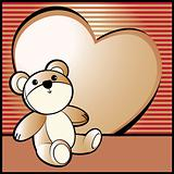Love background with bear and heart