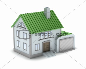Small family house. 3D image. Isolated on white.