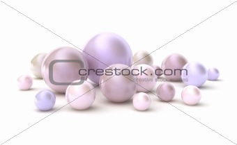 Diffrent pearls. Hight quality 3D image.  Isolated on white