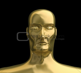 Gold face. 3D image.  Isolated on black