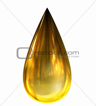 Oil Drop with reflections.  Isolated on white