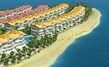 Elite cottage village on the seaside . 3D render.