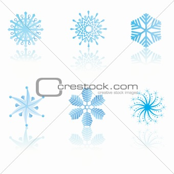 beautiful cold crystal gradient snowflakes