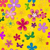 Seamless floral yellow pattern