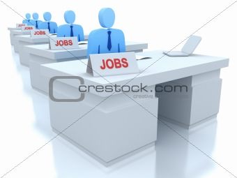 Job Centre : employers seeking for employees . 3D concept . Isolated on white
