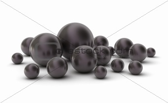 Black pearls. Hight quality 3D image. Isolated on white