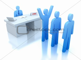Job Centre : employers testing for employees . 3D concept. Isolated on white