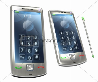 Mobile pda 3G phone with stylus. Isolated on white