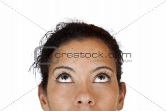 Close-up makro of woman looking up