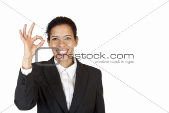 Happy woman shows with fingers a circle