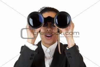 Woman looks through binoculars searching for business