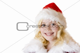 Portrait of young girl with christmas cap