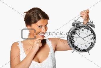 Bride with alarm clock