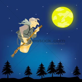 Old woman witch with broom flies on night sky