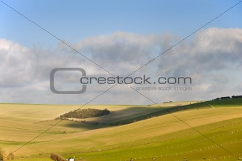 Beautiful vibrant landscape over rolling English countryside