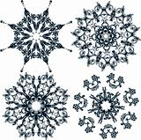 Floral snowflakes, set, element for design, vector