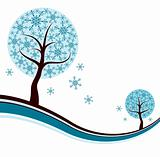 Decorative winter tree background, vector