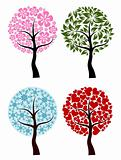 Valentines, spring, winter tree background, vector