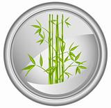 Button with a bamboo, vector
