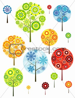 Four seasons abstracts trees, vector