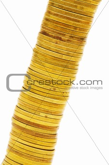 Close up of the golden coin stack