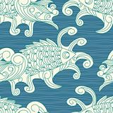 vector seamless pattern with koi carp fishes
