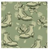 vector seamless grunge background with boots and flowers