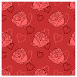 vector seamless background with roses and hearts