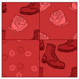 a set of vector seamless grunge backgrounds with boots and roses
