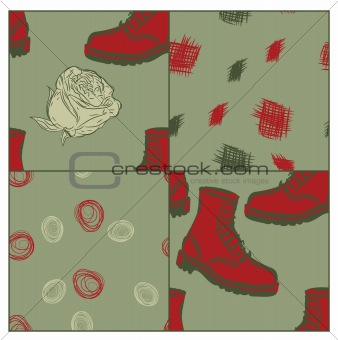a set of vector seamless grunge background with boots and flower