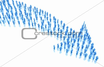 Arrow of people :business concept. 3D render. Isolated on white