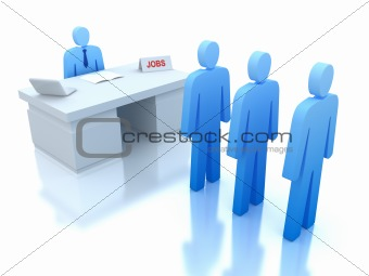 Job Centre : employers testing for employees . 3D concept . Isolated on white