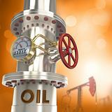 Oil pipeline - concept. 3D image