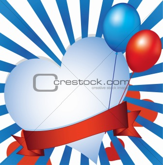 Background with heart and balloons