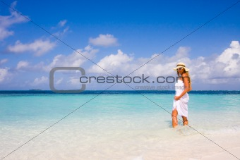 Lady on a tropical beach