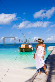 Young woman on a pier