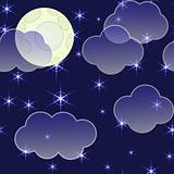 Abstract night background with clouds and stars
