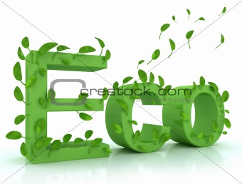 Green word ECO with leaves. Isolated on white