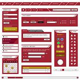 Website Web Design Element Template Frame Red