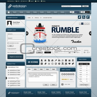 Web Website Element Design Template Blue Vector