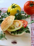 hamburger with tomatoes and parsley