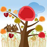 valentine tree with owls - vector illustration