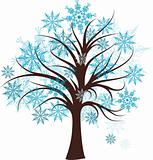 Decorative winter tree, vector