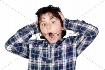 Amazed child with plaid t-shirt