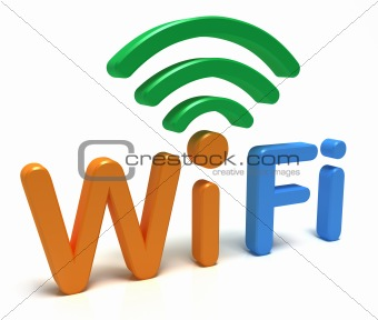 WiFi logo. 3D concept. Isolated on white