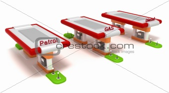 Three red filling stations. Isolated on white