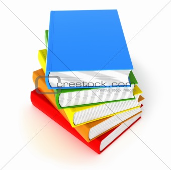 Five colored books. Isolated on white