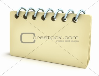 Blank notepad with horizontal spiral. Isolated on white