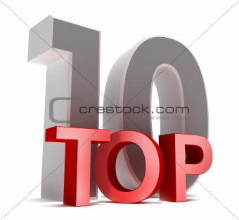 Top 10. 3D concept isolated on white