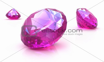 Ruby gemstones on white surface. 3D render isolated on white